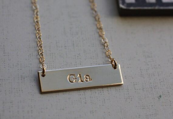 gold bar necklace name bar necklace horizontal bar name. Black Bedroom Furniture Sets. Home Design Ideas