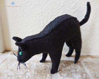 Black cat, stuffed animal cat, Halloween cat, black felt cat, small stuffed cat
