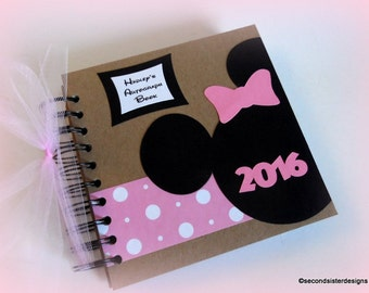 2018! Pink PERSONALIZED  Disney Autograph Book Scrapbook Travel Journal Vacation Photo Book