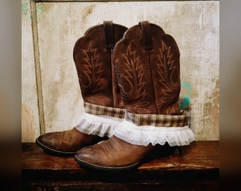 Country Cuffs in Hunter Green Gingham with Ruffles