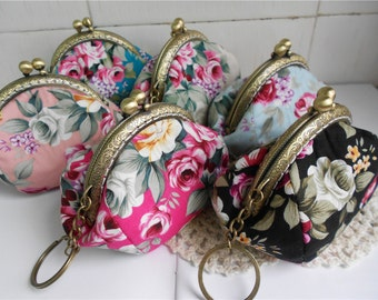 Vintage Flowers Coin Purse Frame Bags