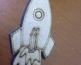 3mm thick mdf wooden embellishments, rocket, heart or tractor