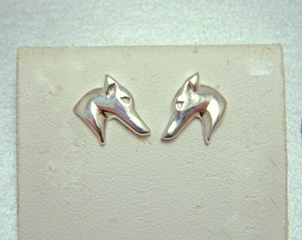 Small Greyhound Sterling Silver Stud Earrings