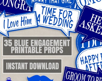 35 Blue Engagement Photo booth props, navy blue photo props, photobooth ideas for engagement party blue props, diy engagement party planning