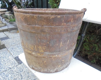 antique French decorative farmers bucket, wooden bucket, ca 1900, French farmhouse bucket,