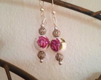 Pink Rose Glass Beaded Earrings