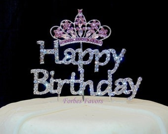 Silver Rhinestone Happy Birthday with Pink Rhinestone Princess Crown Cake Topper Set of 2