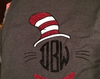 Monogrammed Cat in The Hat Long Sleeve Tshirt