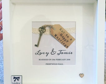 Perfect personalised wedding gift for the happy couple, great keepsake frame - key to a happy marriage