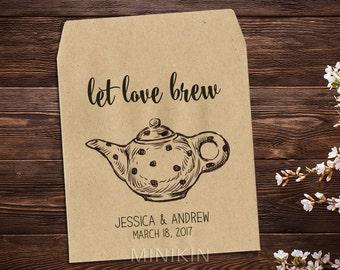 Tea Packet Favor, Tea Party, Tea Party Favor, Tea Bag Favor, Rustic Wedding, Bridal Shower, High Tea, Wedding Favor, Tea Favor x 25