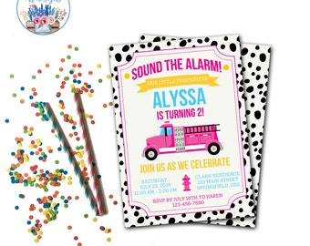 Fire Truck Invitation, Fire Truck Birthday Party, Firefighter Party Invitation, Girl Fire Truck