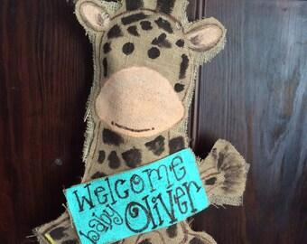Giraffe burlap door hanger