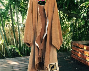 Vintage hooded 70's duster coat