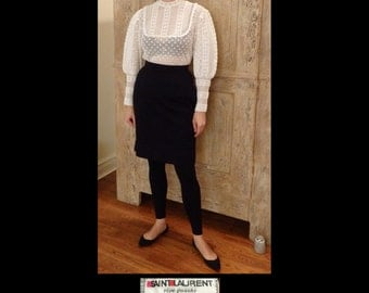 70s YSL Yves Saint St Laurent Rive Gauche Black Wool Knit Pencil Skirt~Buttons Down Back~High Waist~POCKETS~Knee Length~Iconic~FR 38/Size 4