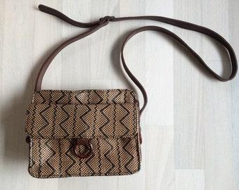Vintage Woven Tribal/Southwestern crossbody purse -brown tan black-