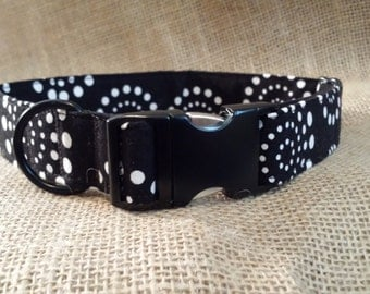 Black and White Pinwheels Buckle Collar size Large