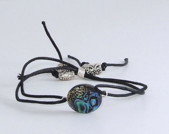 Abalone and Silk thread Bracelet