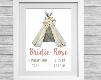 Baby Girl or Boy tee pee birth print.
