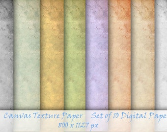 Canvas Texture Paper, Set of 10 Digital Papers,  Background texture