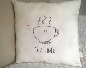 "Handmade ""Tea Time"" Pillow/Cushion/Throw pillow 37x37 cm ecru"