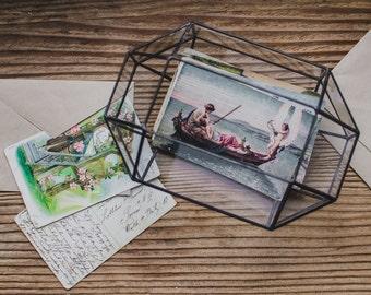 Medium Wedding Card Holder Glass Box  Terrarium for Cards  Geometric Mail box Geometric glass box