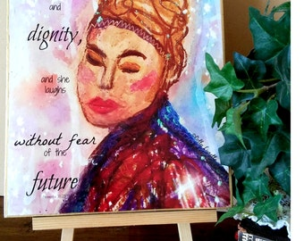 Mixed Media Print, Faith, Proverbs 31 Woman, Ethnic, Strength, Scripture Art, Royalty, Encouragement
