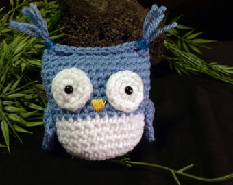 Amigurumi Owl, Blue and White Crochet Owl