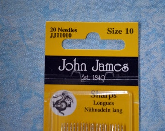 Sharps longues needles, size 10 John James, 20 needles per card. finest quality needles.