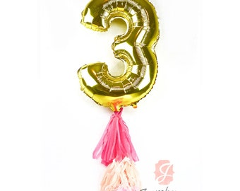 """CLOSEOUT SALE Large 30"""" Gold Number 3 Air Only Balloon  Third Birthday Balloon Gold Balloon 3rd Birthday Number Three Balloon Third Birthday"""