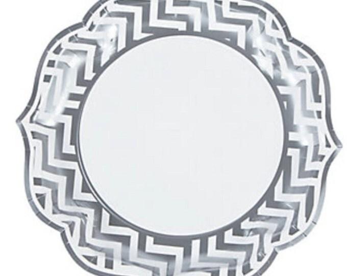"8pc Silver 10""  Chevron Dinner Plate, Silver Wedding Plate, Silver Grey Chevron Dinner Plate, Silver and White Dinner,  Wedding Paper Plate"