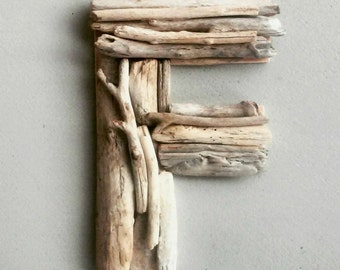 Driftwood Letter, Hanging Letter F, Rustic Beach Decor, Monogram, Last Name Gift, 12 Inch Wood Letter, Woodland Nursery, Housewarming Gift