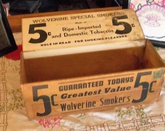 Wolverine Smokers Cigar Display Box Vintage Cigar Store Display Box