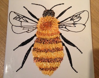 Ceramic Tile Painting, Original, Bumble bee creepie crawley insect plaque
