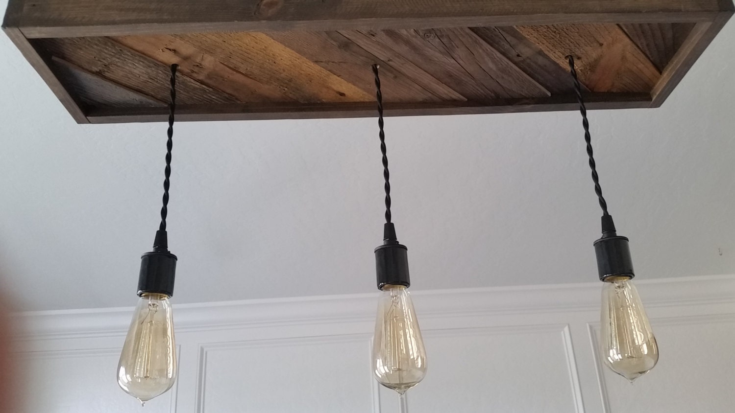 Reclaimed wood canopy pendant light chandelier flush mount for Wood pendant chandelier
