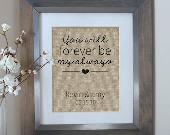 You Will Forever Be My Always | Wedding Print | Anniversary Gift | Love Quote | Burlap Art Personalized for the Couple