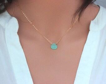 Layered Neckalce, Birthstone Necklace, Mint Blue Chalcedony, Blue Gemstone Neckalce, Birthstone Necklace , trendy blue gemstone necklace