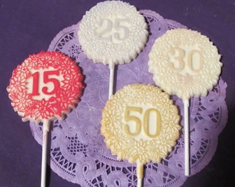 15 25 30 50th Anniversary chocolate lollipops