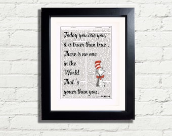 Positive Affirmation Dr Seuss Quote Today You Are You It is truer than true no one youer INSTANT DIGITAL DOWNLOAD Printable Wall Art