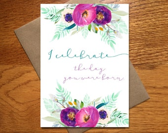 Watercolor Happy Birthday Card For Her / New Baby Card / Every Day Spirit / Beautiful Birthday Card / Pretty Birthday Card / Floral / 5x7