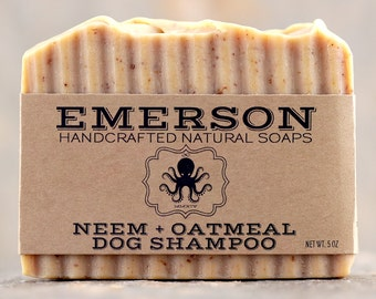 Neem + Oatmeal Dog Shampoo Bar with Myrrh, Calendula & Citronella • 100% Natural Palm Free Solid Dog Shampoo, Dog Soap, Neem Dog Shampoo