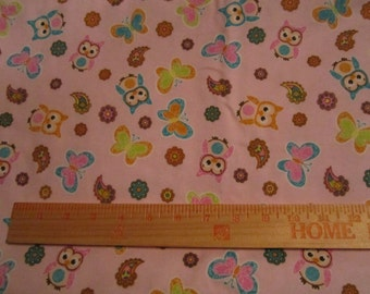 Cotton flannel fabric with pastel owls