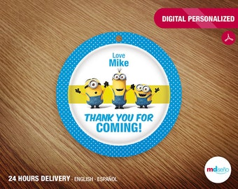 Minions PRINTABLE Favor Tag Thank You For Coming! Minions Party