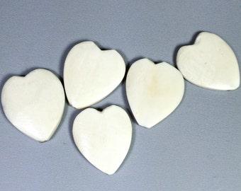 Bone heart focal beads (4) 27x23mm