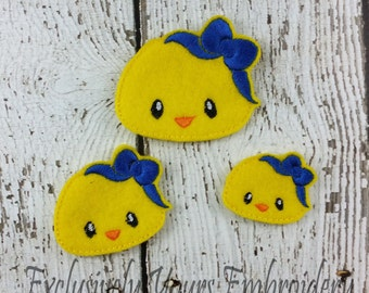 Chick Girl Feltie Set of 4 - Clippie Cover - Badge Reel Cover - Craft Supply - Scrapbooking - Card Making - Planner Clip