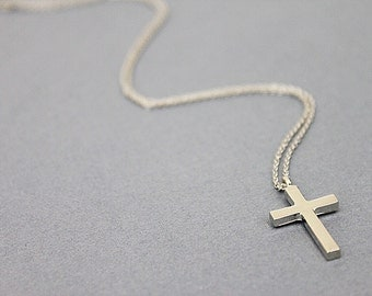 Dainty Silver Cross Charm Necklace. Simple and  Modern Necklace. Gift For Friends.