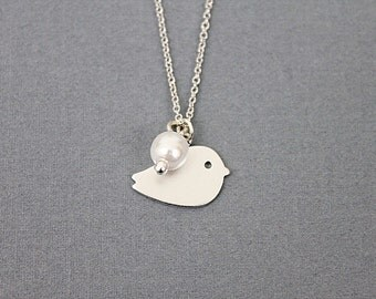 Tiny Bird Charm with white pearl Necklace . Dainty Necklace . Simple and Modern Necklace. Bridesmaid Necklace.