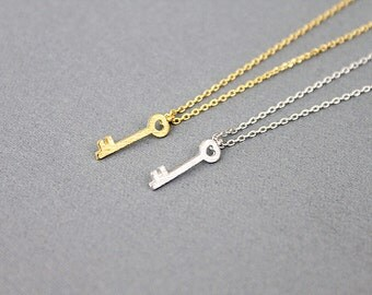Gold /Silver Tiny Key Charm Necklace . Dainty and Simple Everyday Necklace . Birthday Gift