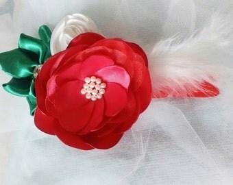 Red Vintange Rose Headband