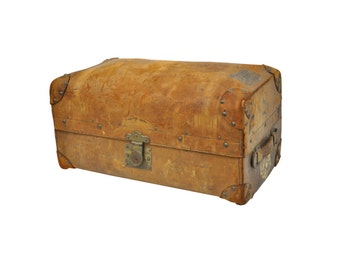 Antique Sole Brown Leather Alexander McDonald Dome Travel Steamer Trunk Chest