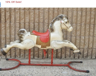 10% Off Sale! Vintage 1950s Mobo Range Rider Tin Rocking Hobby Horse Made in England Childs Toy Mid Century Atomic Era